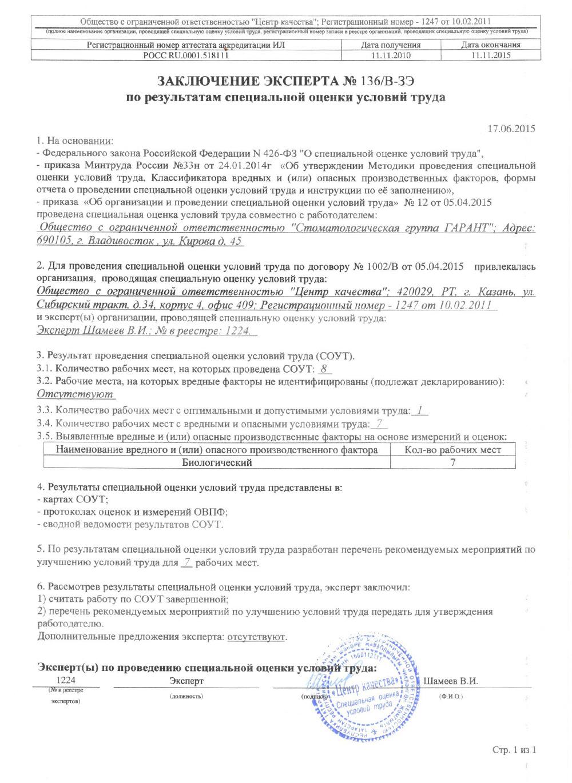 Специальная оценка условий труда клиники ГАРАНТ